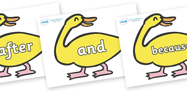 Connectives on Yellow Duck to Support Teaching on Brown Bear, Brown Bear - Connectives, VCOP, connective resources, connectives display words, connective displays