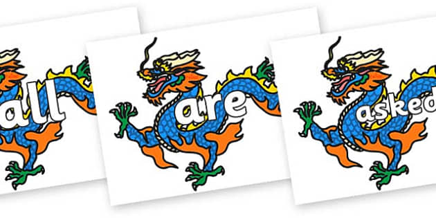 Tricky Words on Chinese Dragons - Tricky words, DfES Letters and Sounds, Letters and sounds, display, words