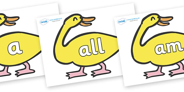 Foundation Stage 2 Keywords on Yellow Duck to Support Teaching on Brown Bear, Brown Bear - FS2, CLL, keywords, Communication language and literacy,  Display, Key words, high frequency words, foundation stage literacy, DfES Letters and Sounds, Letters