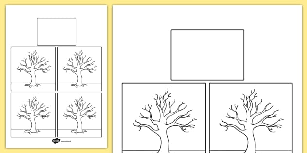 Season Blank Trees Themed Calendar Template - season, calendar