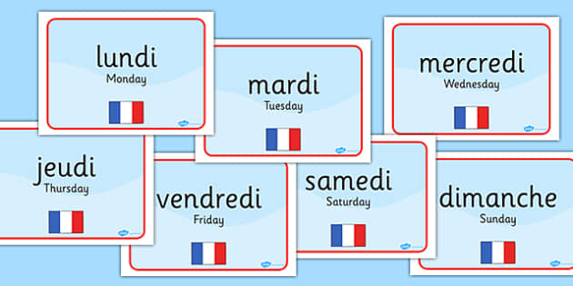 Days of the Week Display Signs French Translation - days of the week, display signs, display, signs, french, translation