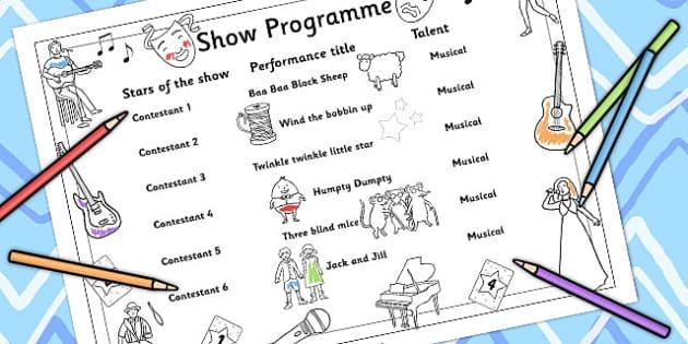 Colour-In Show Programme - talent show, show program, colouring