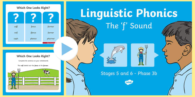 NI Linguistic Phonics Stage 5 and 6 Phase 3b, 'f' Sound PowerPoint - Linguistic Phonics, Phase 3b, Northern Ireland, 'f' sound, sound search, word sort, investigatio