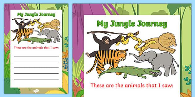 Jungle Animal Themed Animal List Writing Guide - walking, jungle