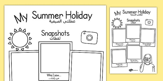 Summer Holiday Snapshots Writing Frame Arabic Translation - arabic, transition, writing aid