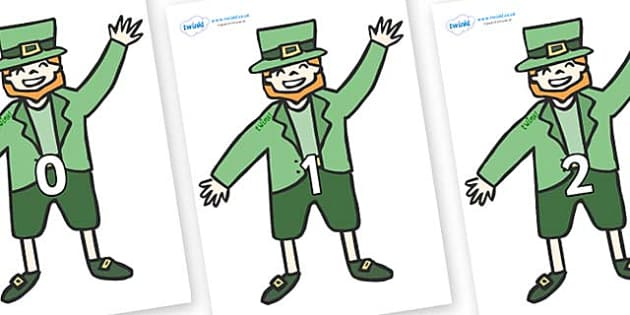Numbers 0-50 on Leprechauns - 0-50, foundation stage numeracy, Number recognition, Number flashcards, counting, number frieze, Display numbers, number posters