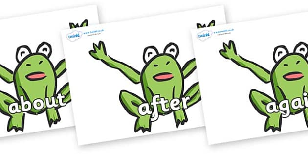 KS1 Keywords on Frogs - KS1, CLL, Communication language and literacy, Display, Key words, high frequency words, foundation stage literacy, DfES Letters and Sounds, Letters and Sounds, spelling