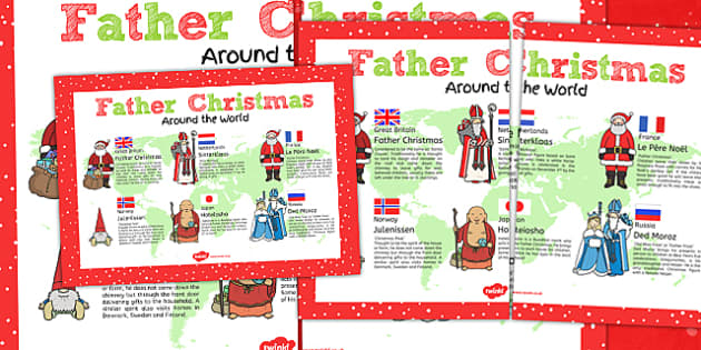 Father Christmas Around the World Poster - poster, christmas