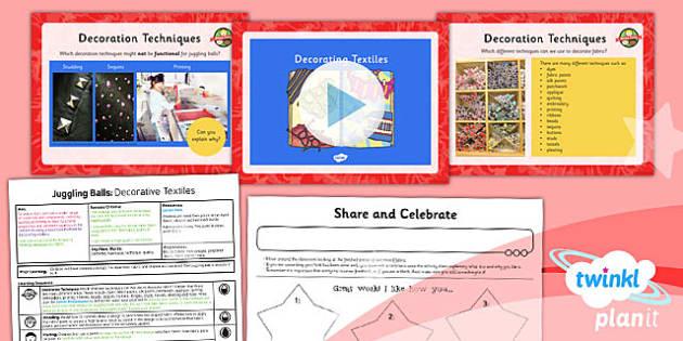 PlanIt - DT LKS2 - Juggling Balls Lesson 5: Decorative Textiles Lesson Pack