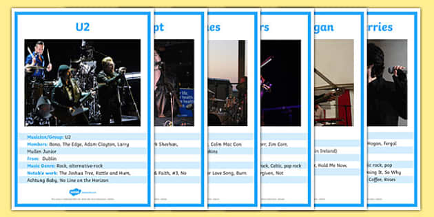 Irish Musicians Factfile Display Posters - irish, gaeilge, irish musicians, musicians, factfile, posters