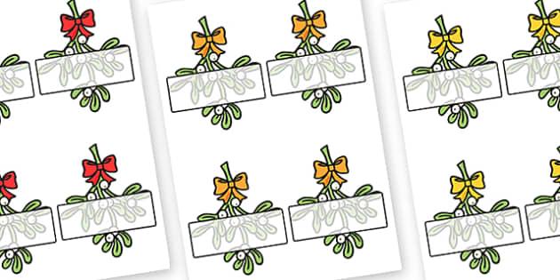 Editable Self Registration Mistletoe - christmas, xmas, self registration, self-registration, mistletoe, mistletoe labels, editable self registration labels on mistletoe, editable, editable labels, editable self registration labels, labels, registrat