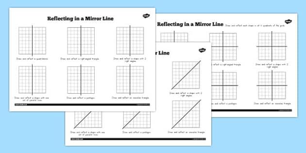Reflections in a Mirror Line Worksheet - australia, mirror line