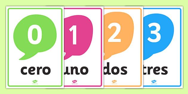 Spanish Numbers 0-20 Posters - MFL, Spanish, Modern Foreign Languages, Spanish numbers, foundation, languages, display, numeracy, flashcards
