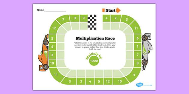 Multiply by 1000 Race Activity - multiply by 1000, race, activity, multiplication