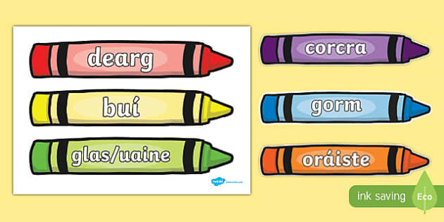 Colour Words on Crayons Gaeilge - gaeilge, colour words, colour, words, crayons