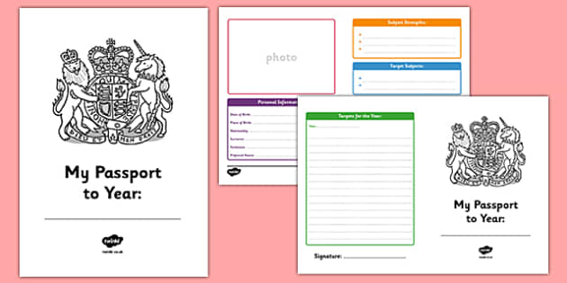Passport to the Next Year Writing Frames - passport, next year, writing frames, writing, targets, writing template, colour and write, frames for writing