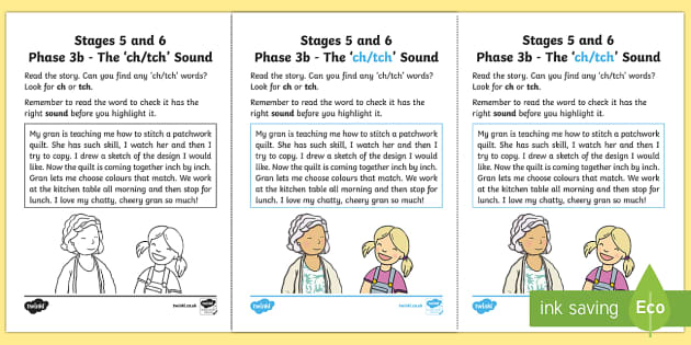 NI Linguistic Phonics Stage 5 and 6 Phase 3b, 'ch, tch' Sound Activity Sheet  - Linguistic Phonics, Phase 3b, Northern Ireland, 'ch', 'tch', sound, sound search, text, Worksh