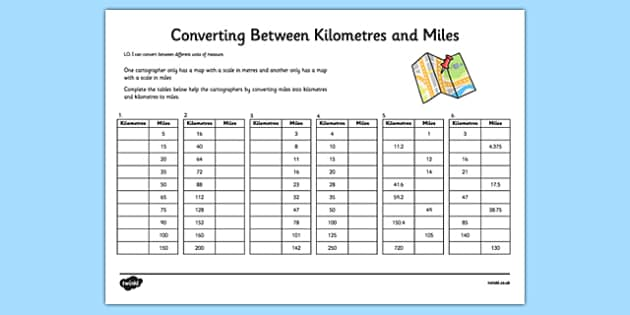 Converting Between Miles and Kilometres Activity Sheet - converting, miles, kilometres, activity, worksheet
