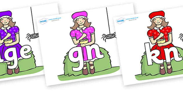 Silent Letters on Little Miss Muffet - Silent Letters, silent letter, letter blend, consonant, consonants, digraph, trigraph, A-Z letters, literacy, alphabet, letters, alternative sounds