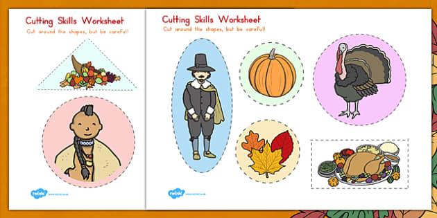 Thanksgiving Cutting Skills Worksheet USA - worksheets, motor