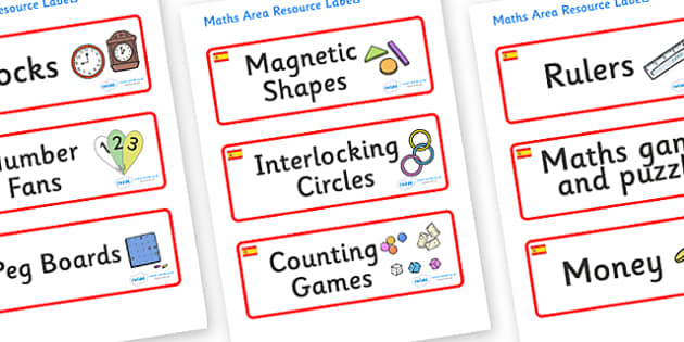 Spain Themed Editable Maths Area Resource Labels - Themed maths resource labels, maths area resources, Label template, Resource Label, Name Labels, Editable Labels, Drawer Labels, KS1 Labels, Foundation Labels, Foundation Stage Labels, Teaching Label