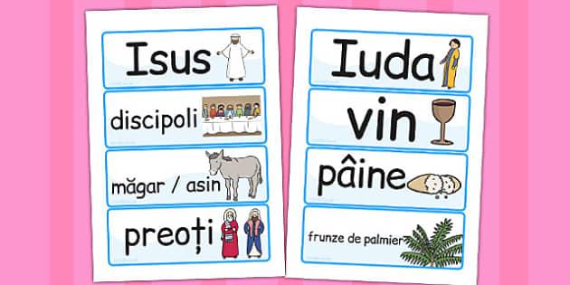 Pastele, Cartonase de cuvinte, Paste, Romanian