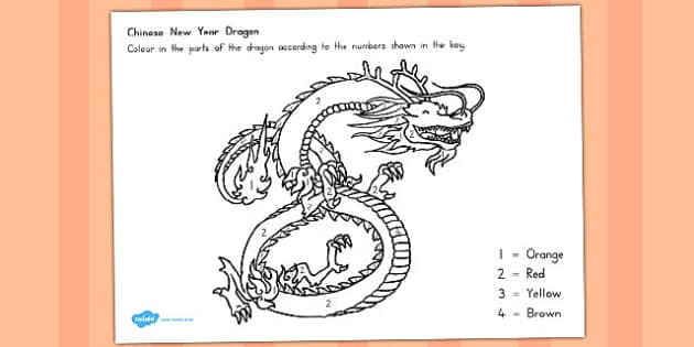 Chinese Dragon Number Colouring Sheet - australia, number, colour