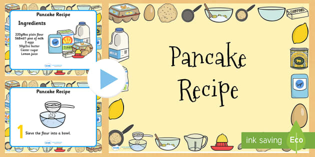 Pancake Recipe PowerPoint - pancake, pancake day, recipe, cooking
