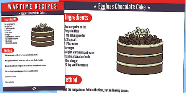 Wartime Eggless Chocolate Cake Recipe - wartime, recipe, cake