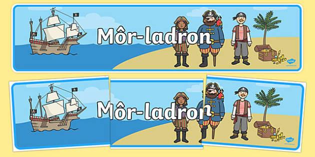 Pirates Display Banner Bilingual Resource - welsh, cymraeg, Pirate, Display Banner, Welsh