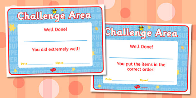 Challenge Area Pack Certificates - Challenge, gifted and talented, Area Signs, challenges, challenge resources, Banner, Foundation Stage Area Signs, Classroom labels, Area labels, Area Signs, Classroom Areas, Poster, Display, Areas