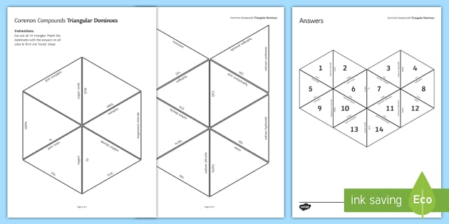 Chemical Compounds Tarsia Triangular Dominoes - Tarsia, gcse, chemistry, compounds, chemical, formula, common formula, compound, common compounds