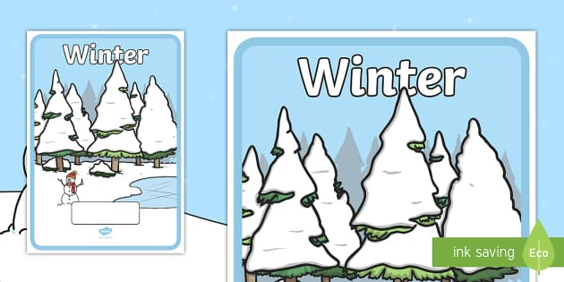 Editable Winter Topic Book Covers -  Winter, snowman, book cover, snowflake, snow, winter, frost, cold, ice, hat, gloves, display words
