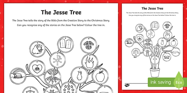 The Jesse Tree Colouring Page-Irish