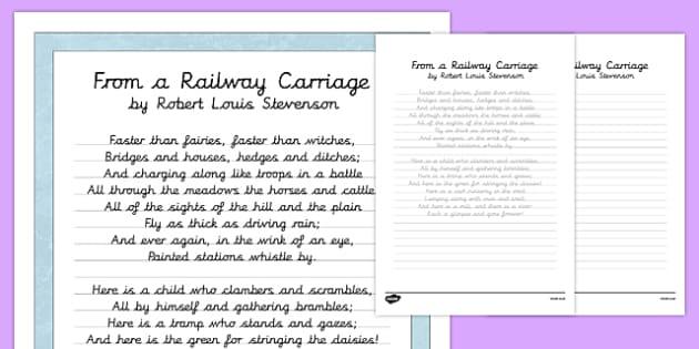 R L Stevenson From a Railway Carriage Poem Handwriting Practice - poem, handwriting, practice, writing, from a railway carriage, r l stevenson