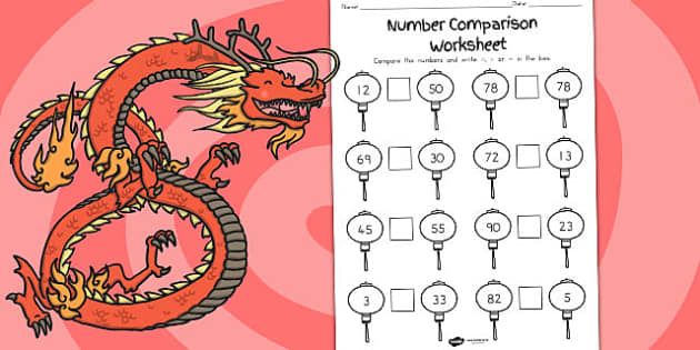 Chinese Number Comparison Worksheet - australia, comparison