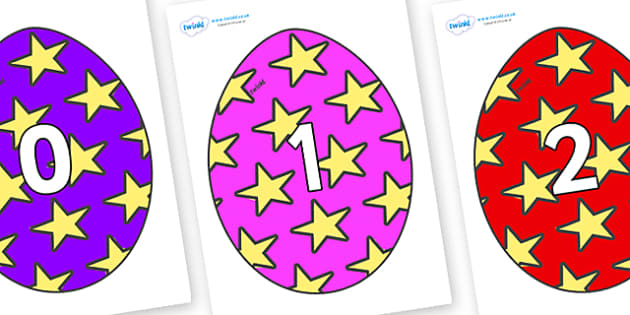 Numbers 0-100 on Easter Eggs (Stars) - 0-100, foundation stage numeracy, Number recognition, Number flashcards, counting, number frieze, Display numbers, number posters