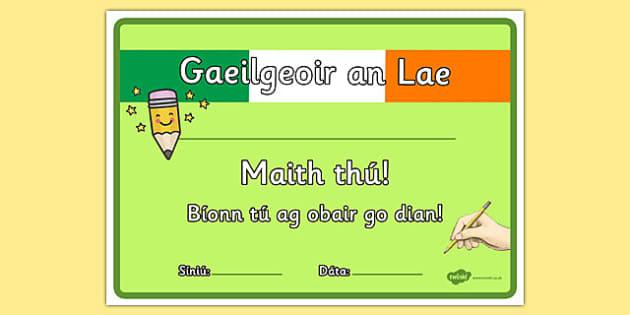Gaeilgeoir an Lae Certificate Irish Gaeilge - Irish, certificate, Gaeilge, language, Gaeilgeoir, Seachtain na Gaeilge