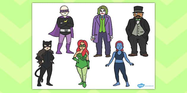 Superheroes Villains Cut Outs - superhero, villains, cut outs