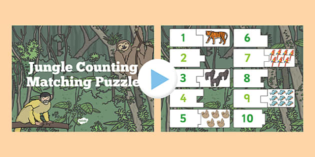 Jungle Themed Counting Puzzle Activity presentation - activities
