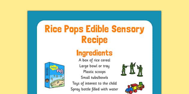 Rice Pops Edible Sensory Recipe - rice pops, edible, sensory recipe, recipe