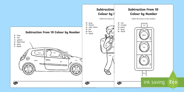 Road Safety Subtraction from 10 Colour by Number