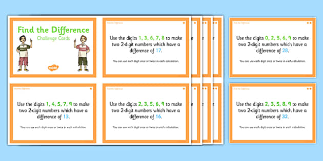 Find the Difference Challenge Cards - find the difference, challenge cards, find, difference