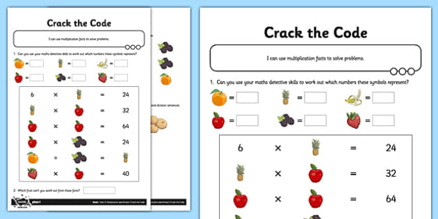 Differentiated Crack the Code Missing Number Puzzle Activity Sheet Pack - problem solving, missing numbers, algebra, inverse, commutative, differentiated activity, worksheet