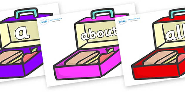 100 High Frequency Words on Lunchboxes (Multicolour) - High frequency words, hfw, DfES Letters and Sounds, Letters and Sounds, display words