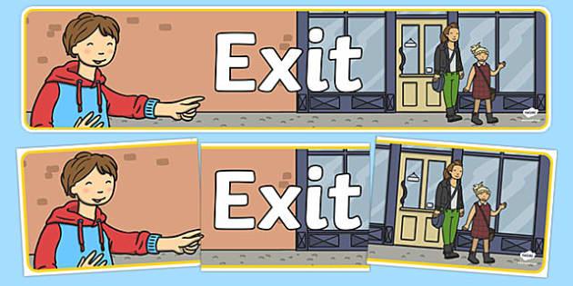 Exit Sign Display Banner - exit sign, display banner, display, banner, exit, sign