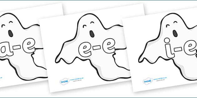Modifying E Letters on Ghosts (Plain) - Modifying E, letters, modify, Phase 5, Phase five, alternative spellings for phonemes, DfES letters and Sounds
