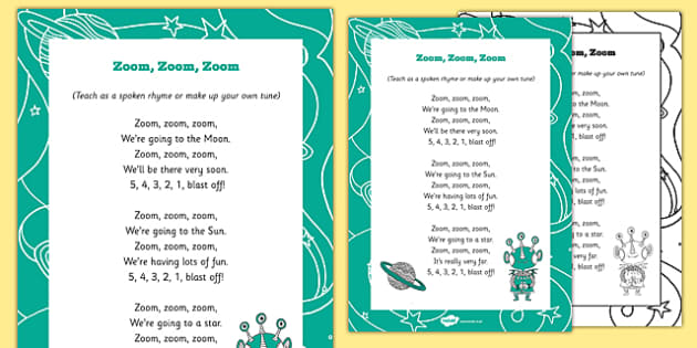 Zoom, Zoom, Zoom Rhyme - A colection of new and well known songs, perfect for a space themed song time.