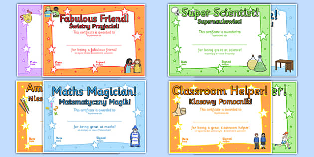 End of Year Award Certificates Polish Translation - polish, reward, awards, end of term