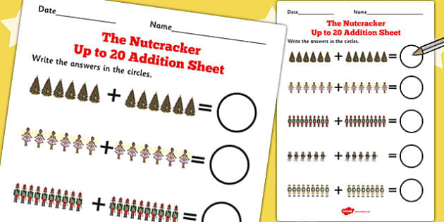 The Nutcracker Up to 20 Addition Sheet - nutcracker, addition